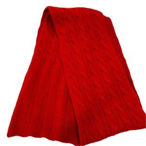 "CLUB MONACO 100"" long chunky deep red wool scarf"